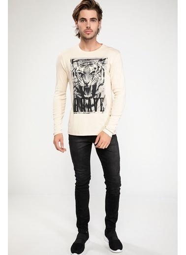 DeFacto Kaplan Baskılı Uzun Kollu Slim Fit T-shirt Bej